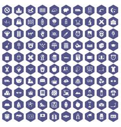 100 alarm clock icons hexagon purple vector