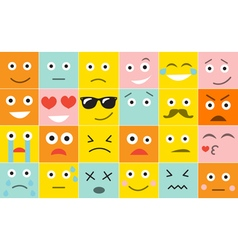 Set square emoticons with different emotions vector