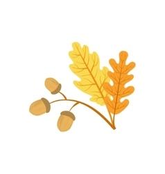 Oak tree leaf and acorns as autumn attribute vector