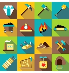 Mining production icons set flat style vector