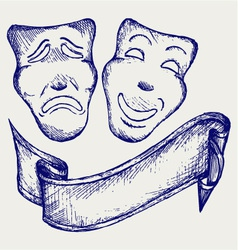 Comedy and tragedy theater masks vector