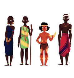 Native black skinned people of african tribes and vector