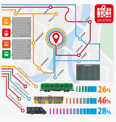 public transport routes stations statistics vector image