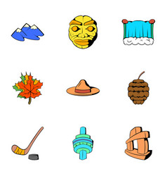 Canadian culture icons set cartoon style vector