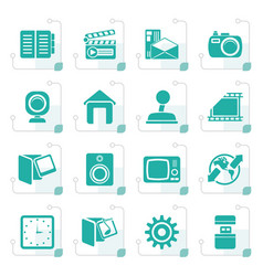Stylized internet computer and mobile phone icons vector