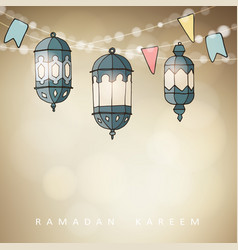 Hand drawn ornamental arabic lanterns with string vector