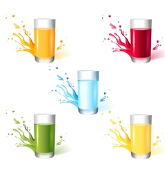 5 glasses with different drinks vector image vector image