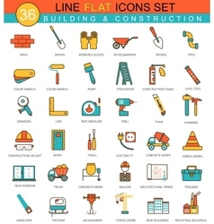 Construction and building tools flat line vector