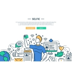 Sellfie - line design website banner vector