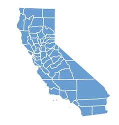 State Map of California by counties vector image