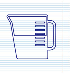 Beaker sign navy line icon on notebook vector