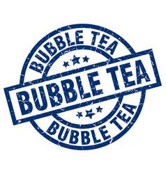 Bubble tea blue round grunge stamp vector