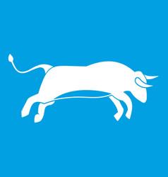 Bull icon white vector