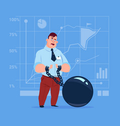 business man chain bound hands credit debt finance vector image vector image