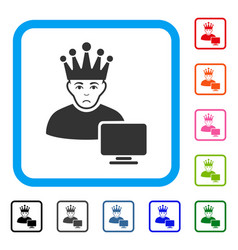 Computer moderator framed pitiful icon vector