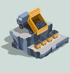 Dump truck ships coal into coal carts isometric vector