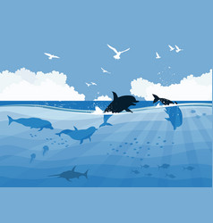 Floating dolphins on a sea background vector