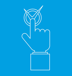 Hand with voting sign icon outline style vector