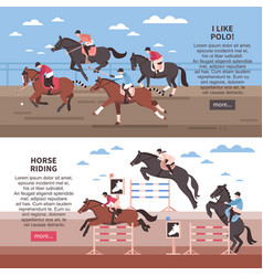 Horse riding and polo banners vector