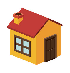 isometric house with chimney design vector image vector image