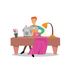 Male dressmaker sewing clothes by sewing machine vector
