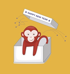 New Year Greeting Card with Monkey in a Gift Box vector image vector image
