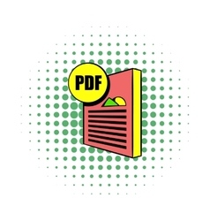 Pdf file icon in comics style vector