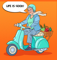 Pop art senior woman riding scooter vector