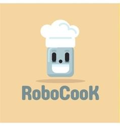 Robot cook cap smiling flat vector