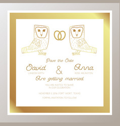 Romantic wedding invitation with gold rings owls vector