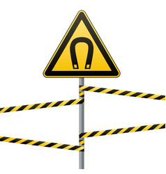 Safety sign caution - danger magnetic field vector