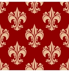 Seamless heraldic fleur-de-lis floral pattern vector image