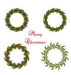 set of christmas wreath vector image vector image