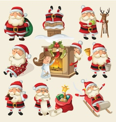 Set of santa clauses ready for christmas vector