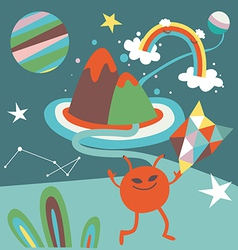 Space mail cartoon vector