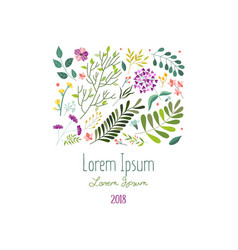 square decoration with flowers leaves and herbs vector image