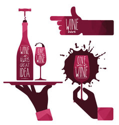 Wine glass and wine bottle vector image