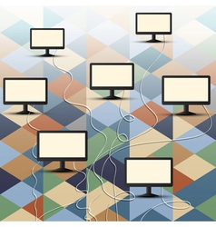 Computer connection on retro background vector image