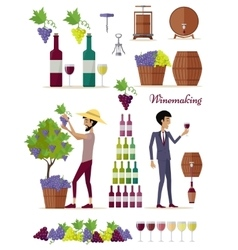 Winemaking Icon Set Vintage Elite Strong Wine vector image