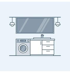 Modern interior of a bathroom with washing machine vector