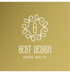 Ornament with leaves best design a gold logo line vector