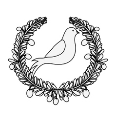 silhouette arch of leaves with pigeon with olive vector image