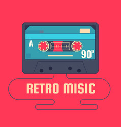 Audio cassette on red background retro music 90s vector