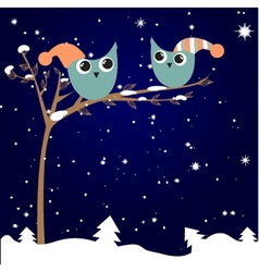 Simple card of two funny cartoon owls with vector