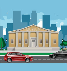 Big building with white columns isolated vector