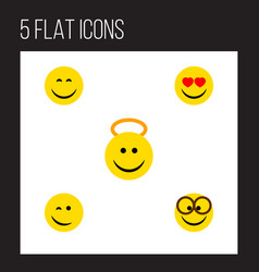 Flat icon gesture set of smile angel pleasant vector