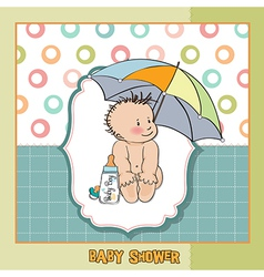 Baby boy shower card with funny baby under his vector