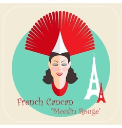 French cabaret cancan moulin rouge icon vector