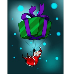 Big giftbox and santa vector