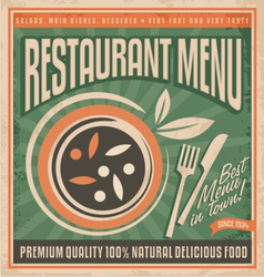 Retro restaurant menu poster design vector